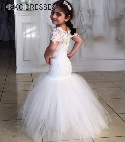 Short Sleeve Mermaid Lace   Flower     Girl     Dresses   Kids Graduation Gowns Children Mother Daughter Gowns First Communion   Dresses