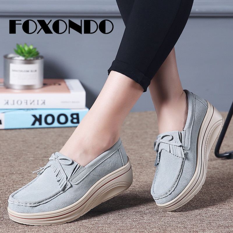 FOXONDO 2019 Spring Ladies   Leather     Suede   Casual Shoes Slip On Flats Creepers Footwear Flats Women Tassel Platform Shoes Women