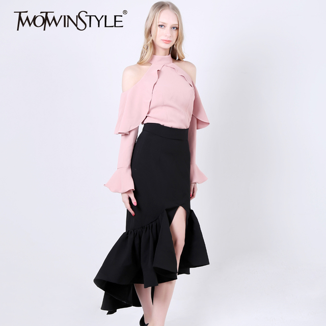[TWOTWINSTYLE] 2017 Spring Ruffles Off The Shoulder T shirt Women Tops New Fashion Clothing