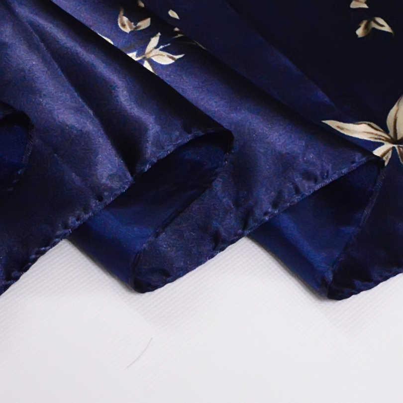 [BYSIFA] Navy Blu Cinese Rose Sciarpe Grande Piazza Nuova Femmina Elegante di Grandi Dimensioni Sciarpa di Seta Delle Signore di Modo Accessori 90*90 centimetri