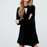 Winter Robe Women Velvet Dress Front V Long Sleeve Mini Vestidos A Line Casual Dresses SDZZ8039