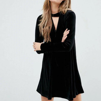 Winter Robe Women Velvet Dress Front V Long Sleeve Mini Vestidos A Line Casual Dresses SDZZ8039