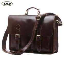 JMD Лидер продаж Высокое качество Винтаж из натуральной яловой кожи мужские портфели дизайнер мужская сумка для ноутбука 7105X-2