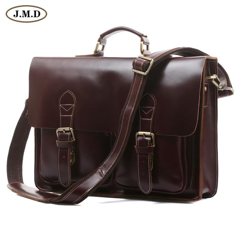 JMD Hot Sale High Quality Vintage Genuine Cowhide Leather Briefcases Designer Mens Laptop Bag 7105X-2