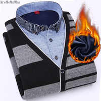 AreMoMuWha 2018 Autumn and Winter New Plus Velvet Thickening Men's Warm Fake Two-piece Shirt Collar Youth Bottoming Set QX184