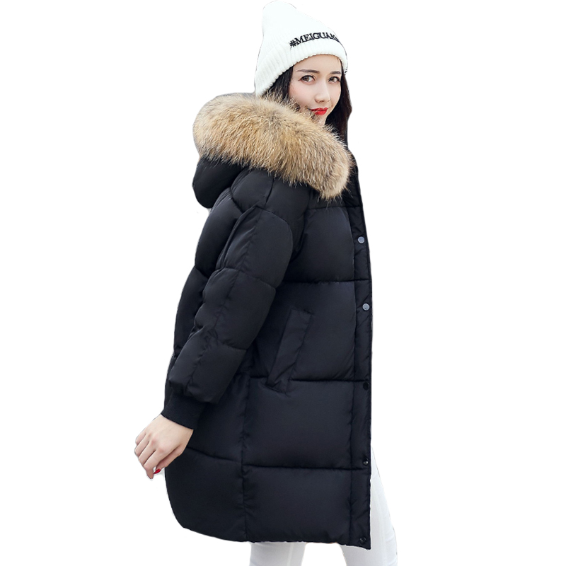 Oversize Hooded With Collar Female Coat Coats Breasted Buttons 2019 New Arrival Winter Jacket Women Warm Long   Parkas   Casaco