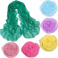 hot selling New Girls Scarf Women's Fashion solid Color Long Soft Wrap Shawl Stoles  Georgette long scarves wholesale