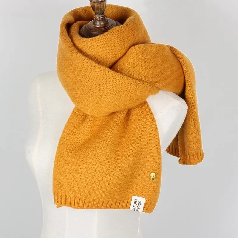 Winter Women Solid Knitted Scarf Cashmere Scarves Warm Fashion Long Scarves & Wraps Blanket Warm Tippet Accessories