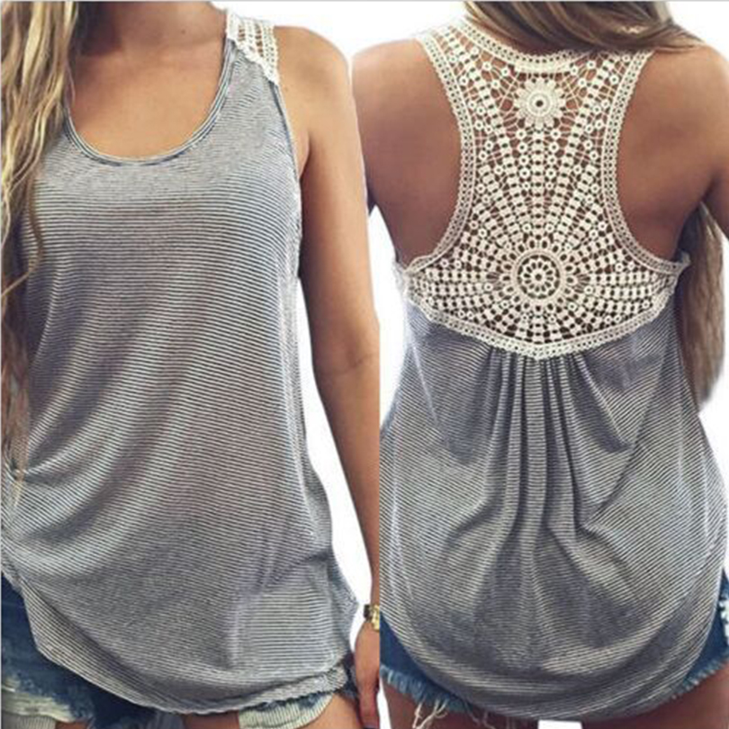 New Summer Vest Sexy Tank Tops Women Plus Size Sexy Women Cotton Blend Tank Tops Lace Solid Regular Tee Deep O-Neck Lace Vest
