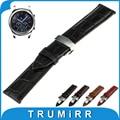 22mm banda de reloj del cuero genuino para samsung gear s3 classic/frontera mariposa hebilla de la correa de pulsera pulsera de la correa negro marrón