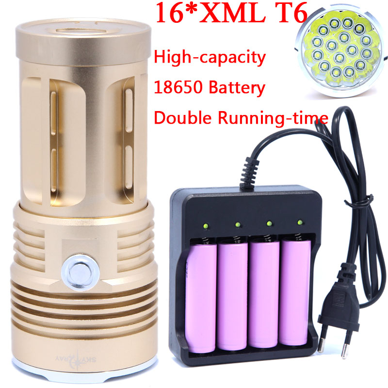 16T6 Super Powerful Flashlight Torch Lamp led flash light 38000LM waterproof Hunting Lamp Lights with Rechargeable 18650 Battery