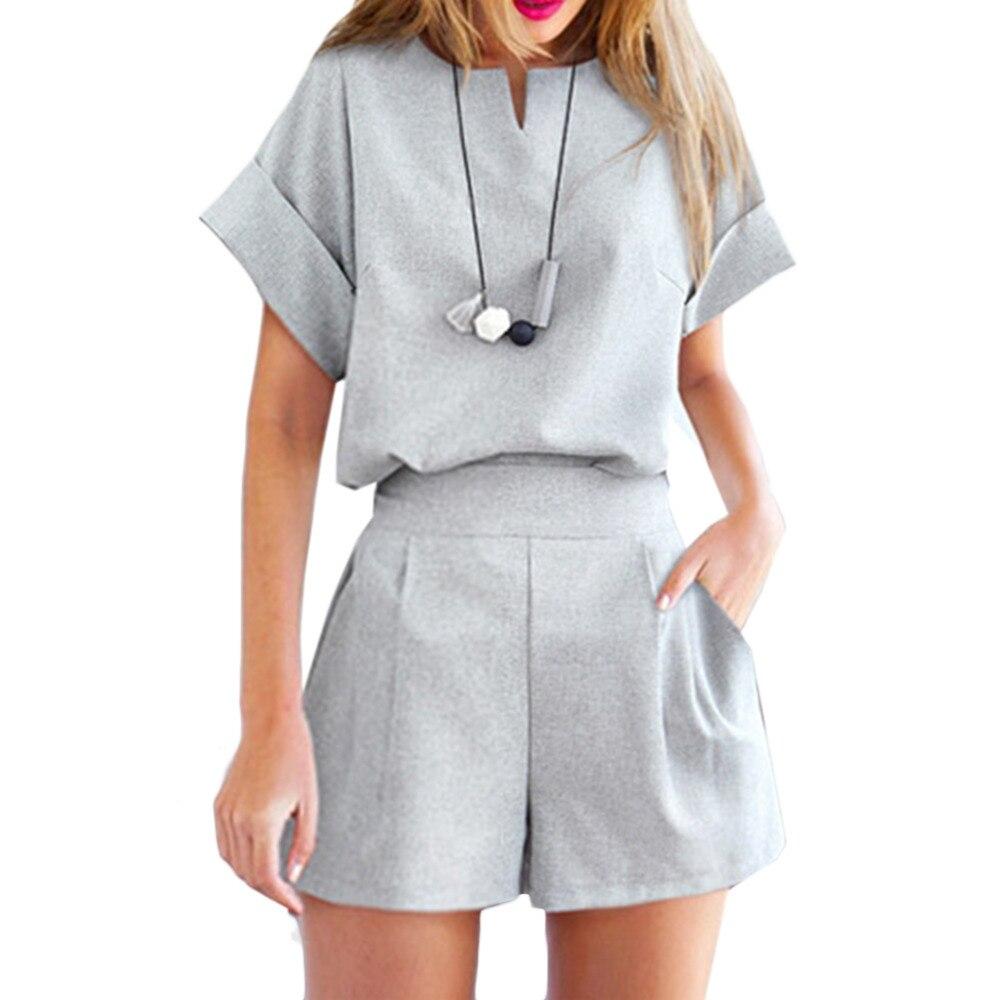 Women Summer Casual Cotton Linen V-neck Short Sleeve Tops +ShortsTwo Piece set Female Office Large Size Women Suit Set XXXXXL