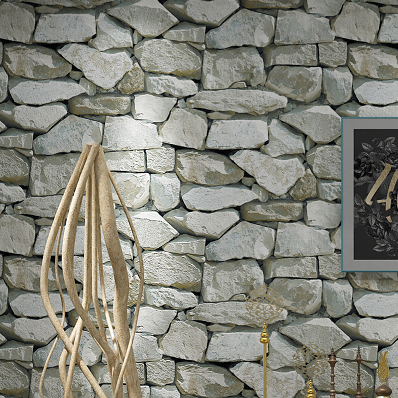 Image 2 - Waterproof Vintage 3D Stone Effect Wallpaper Roll Modern Rustic Realistic Faux Stone Texture Vinyl PVC Wall Paper Home Decor-in Wallpapers from Home Improvement
