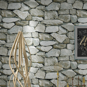 Image 2 - Waterproof Vintage 3D Stone Effect Wallpaper Roll Modern Rustic Realistic Faux Stone Texture Vinyl PVC Wall Paper Home Decor