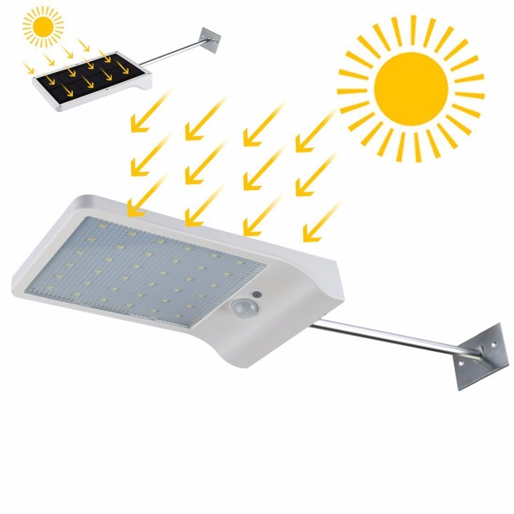Waterproof 36 Led Solar lights PIR Motion Sensor Pathway Lights 450 Lum 3 working mode 2000mah Outdoor Garden Security Wall Lamp