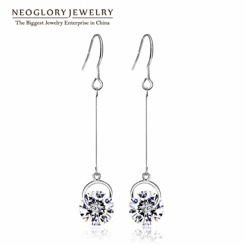 Neoglory Austrian Crystal Rhinestone Tassel Long Bridal Dangle Drop Earrings Birthday Gift Fashion Jewelry Pink 2018 Simp-j P1