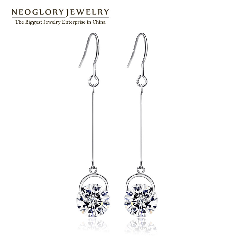 Neoglory österrikiska Crystal Rhinestone Tassel Långa Bridal Dangle Drop Earrings Födelsedag Present Mode Smycken Rosa 2018 Simp-J P1