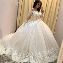 2019 Ball Gown Wedding Dresses Illusion Long Sleeve Lace Appliques Hand  Made 3D Flowers Floor Length de276468a3fa