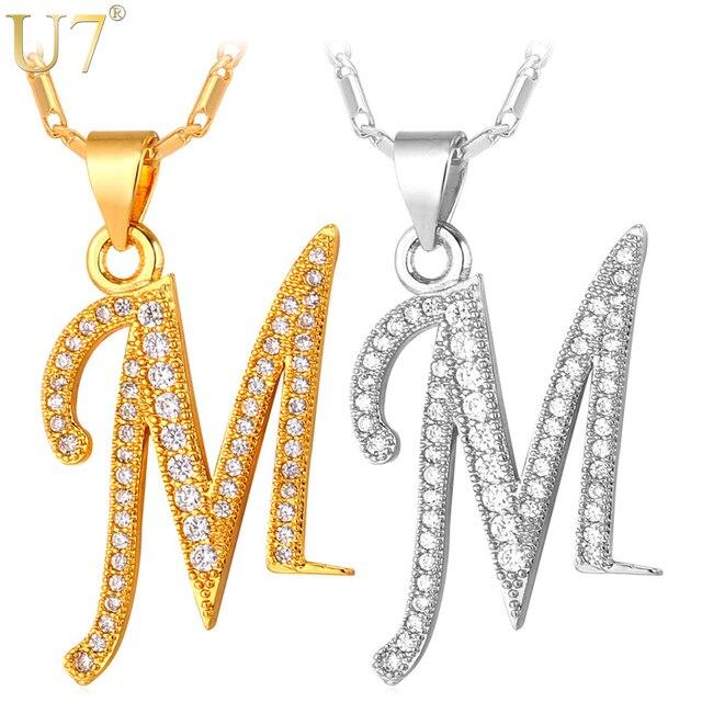 U7 הון ראשוני M מכתב שרשרת לנשים כסף זהב צבע אלפבית תליון   שרשרת שם ... e6dcc3b0582