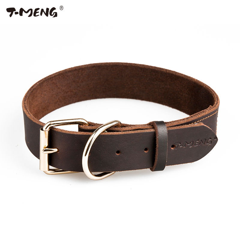 Real Leather Dog Collars Brown Black Solid Color Sample Dogs Necklace Metal Buckle Accessories T-MENG Brand Small Large Size