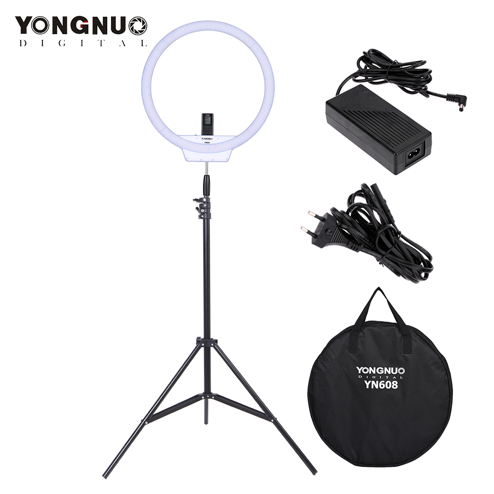YONGNUO YN608 Studio LED Ring Light 3200K~5500K Wireless Remote LED Ring Video Light CRI>95 Lamp W/2m Light Stand+Power Adapter