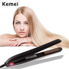 Wholesale prices Kemei Ceramic Electronic hair straighteners 110-240v Professional Fashion Straightening Irons Flat Curling Iron Styling Tools
