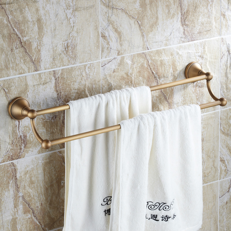 Antique Brushed Towel Rack Luxury Carved Solid Brass Double Layer Wall Mounted Towel Bar Towel Holder Bathroom Accessories PT03 antique stainless steel double towel bar antique towel rack brush finished towel rail double layer 60cm bathroom accessories
