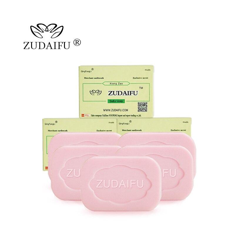 5pcs/lot zudaifu Sulfur Soap Skin Conditions Acne Psoriasis Seborrhea Eczema Anti Fungus Bath whitening soap shampoo soap making