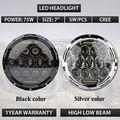 """Black ou chrome tampa 7 Polegada 75 W Oi/Lo LEVADO Farol do carro DRL 12 V 24 V Condução head Light para Je """"ep Wrangler"""