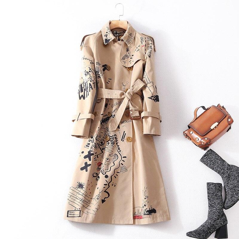 Printed Collar Collar Stitching Women's Windbreaker 2018 Autumn Women's Tie Waist Double-row Coat Women Plus Long Section
