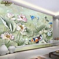 Beibehang Custom Papel De Parede Lotus Jade Carvings Mural Wall Paper TV Backdrop 3d Photo Wallpaper