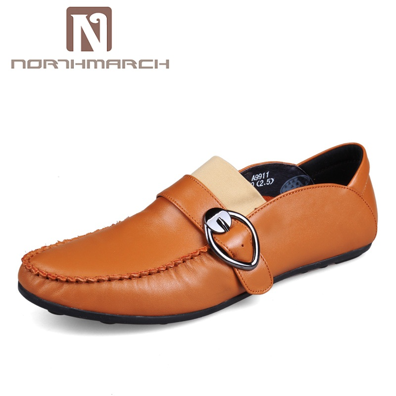 NORTHMARCH Fashion British Style Men Causal Shoes Genuine Leather Men Shoes Slip On Breathable Men's Shoes Sapatos Masculino ege brand fashion men causal shoes genuine leather fashion elastic band male flats breathable british style shoes for men