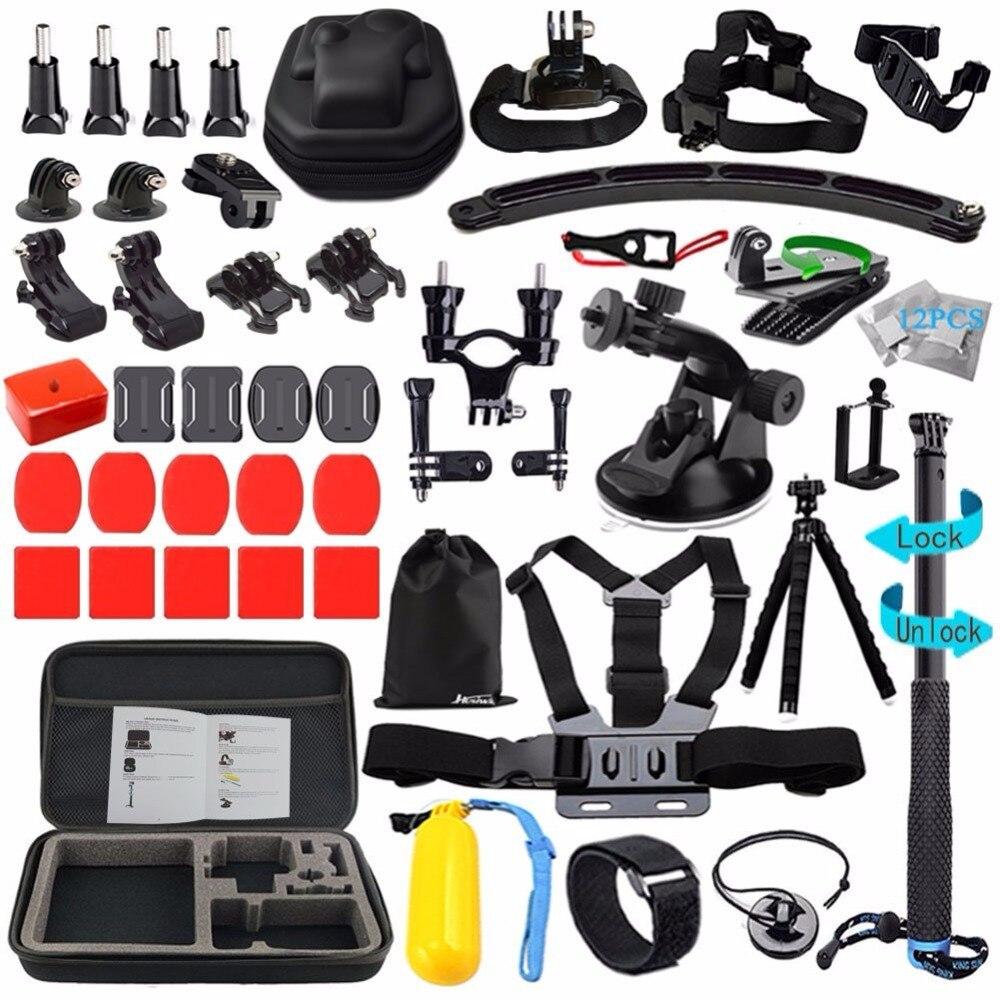 Husiway Accessoires kit pour Gopro Hero 5 Session, Gopro Hero 6 Noir, xiaomi Yi 4 k pour Sony Eken D'action Caméra 13L