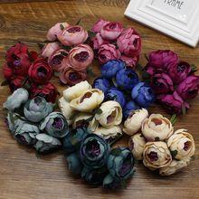 6pcs/lot rose flower artificial wedding decoration car diy handicraft silk stamen bridal