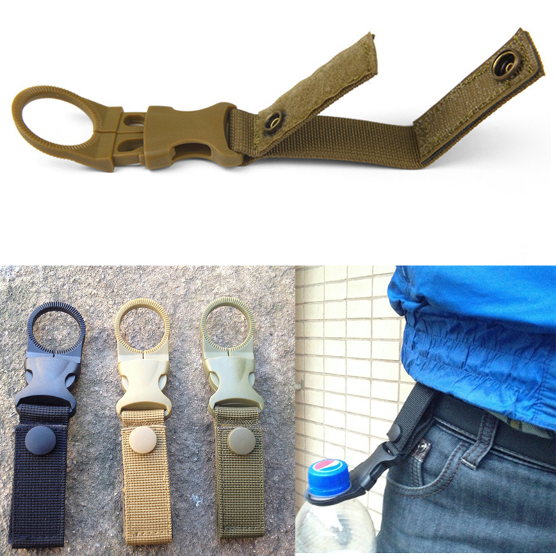 molle attach webbing outdoor Quickdraw Carabiner backpack Hanger Hook camp hike Water Bottle clip hang clasp Buckle Holder tool(China)