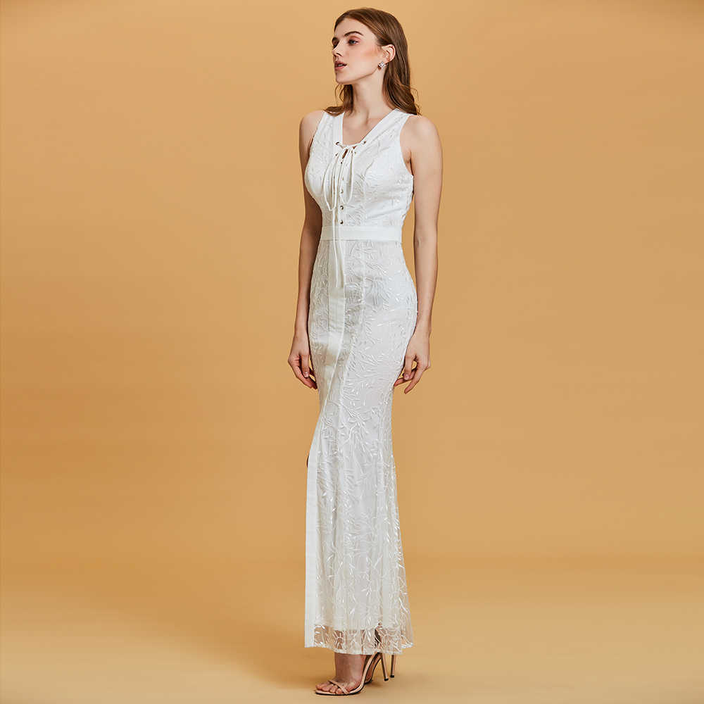 Dressv branco longo vestido de noite barato v neck mangas split-frente apliques de festa de casamento vestido formal da sereia noite vestidos vestidos