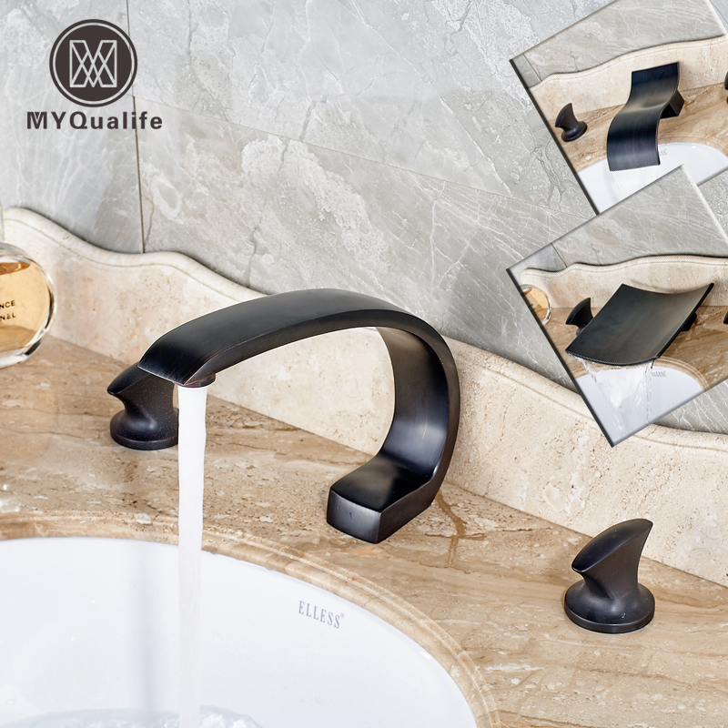 Oil Rubbed Bronze Waterfall Spout Widespread Basin Faucet 3pcs Dual Handle Bathroom Sink Mixer Tap new oil rubbed bronze wide waterfall spout bathroom sink basin mixer faucet two handles widespread lavatory sink faucet