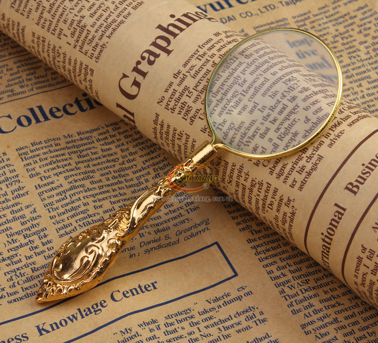 3.5X Vintage Golden Metal Magnifying Glass Handle Magnifier for Reading