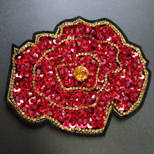 1pc 3D Handmade peony flower rhinestone beaded Patches for clothing Sequins applique Embroidery flowers parches floral