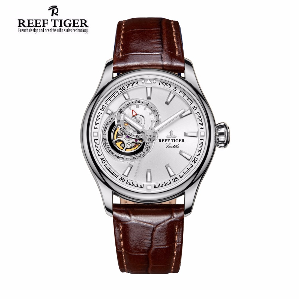 Reef Tiger/RT Skeleton Casual Watch for Men Black Dial Automatic Analog Watch Leather Strap Tourbillon Wrist Watches RGA1639 роллерсерф jd bug rt 03 caster cruiser black
