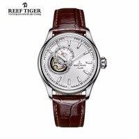 Reef Tijger/RT Skeleton Casual Horloge voor Mannen Zwarte Wijzerplaat Automatische Analoge Horloge Lederen Band Tourbillon Horloges RGA1639