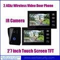 2.4Ghz Wireless Video Door Phone Door Bell Intercom System 2x7Inch Touch Screen LCD 1xOutdoor IR Night Vision Camera Mic Speaker