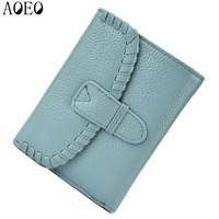 AOEO Women Wallets For Credit Cards Candy Color Genuine Leather Knitting Fashion Casual Womens Purse Car