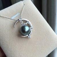 Women Gift word 925 Sterling silver real Tahiti Black Pearl Pendant lasting natural seawater to circle the moon shaped 10.5 11 m