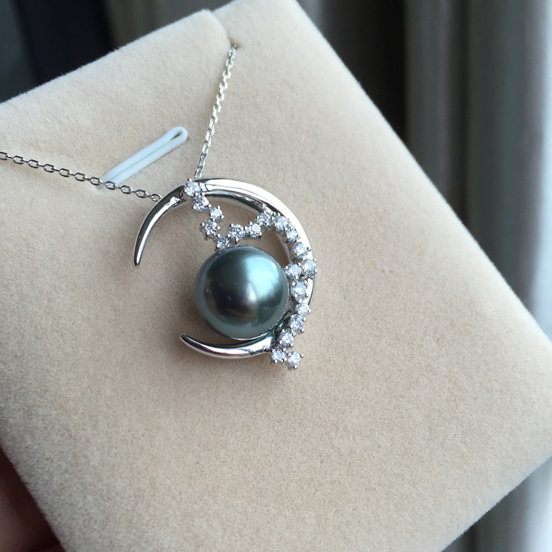 Women Gift word 925 Sterling silver real Tahiti Black Pearl Pendant lasting natural seawater to circle the moon shaped 10.5-11 m зонт играем вместе леди баг um45t lbug