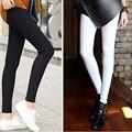 Новинка 2016 весна лето белые брюки карандаш высокая талия эластичные брюки брюки для женщин хлопка тощий Большой размер леггинсы