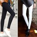 New Fashion 2016 Spring Summer White Pencil Pants High Waist Elastic Pants Trousers For Women Cotton Skinny Plus Size Leggings