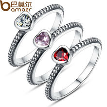 BAMOER Fashion Silver Color Love Heart Ring Stackable Ring with Purple Zircon for Women Wedding Jewelry PA7210