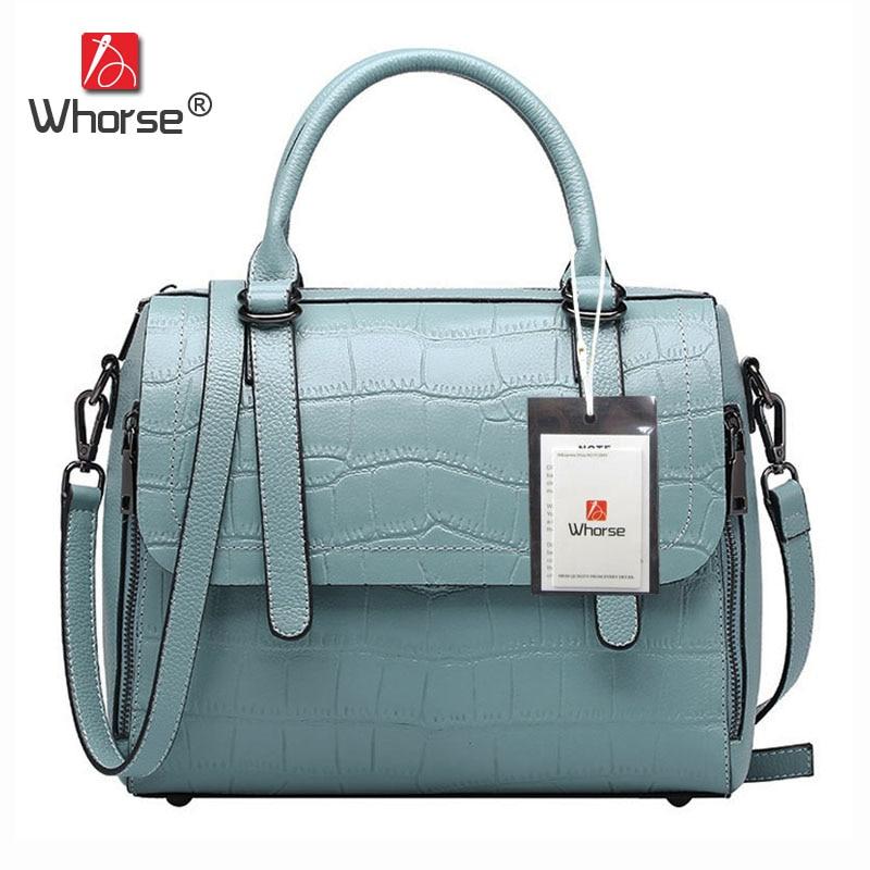 [WHORSE] Brand Luxury Women Embossed Handbag Crocodile Pattern Tote Bag Genuine Leather Shoulder Messenger Bags For Lady W07630