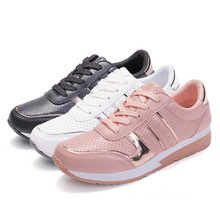 Brand 2018 New Women Shoes Fashion Sneakers Woman Flat Platform Lace-up Luxury Brand Casual Breathable Ladies Shoes High Quality luxury 2019 flats shoes woman flat platform women casual shoes fashion sneakers lace up slip on breathable brand ladies shoes